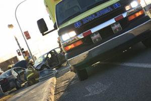 At the scene of a car crash